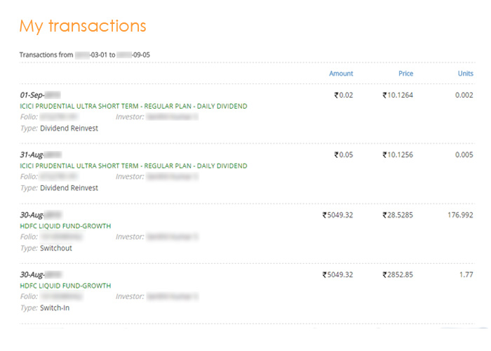 my transactions